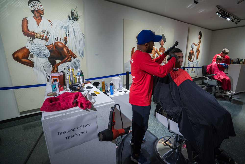 pop up barbershop in the Museum of Art