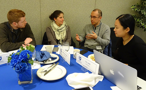 faculty discussing research