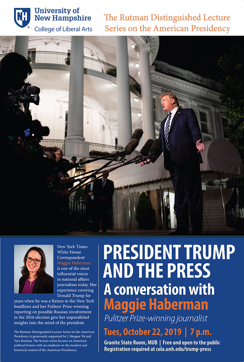 flyer image: photo of President Trump talking to the press