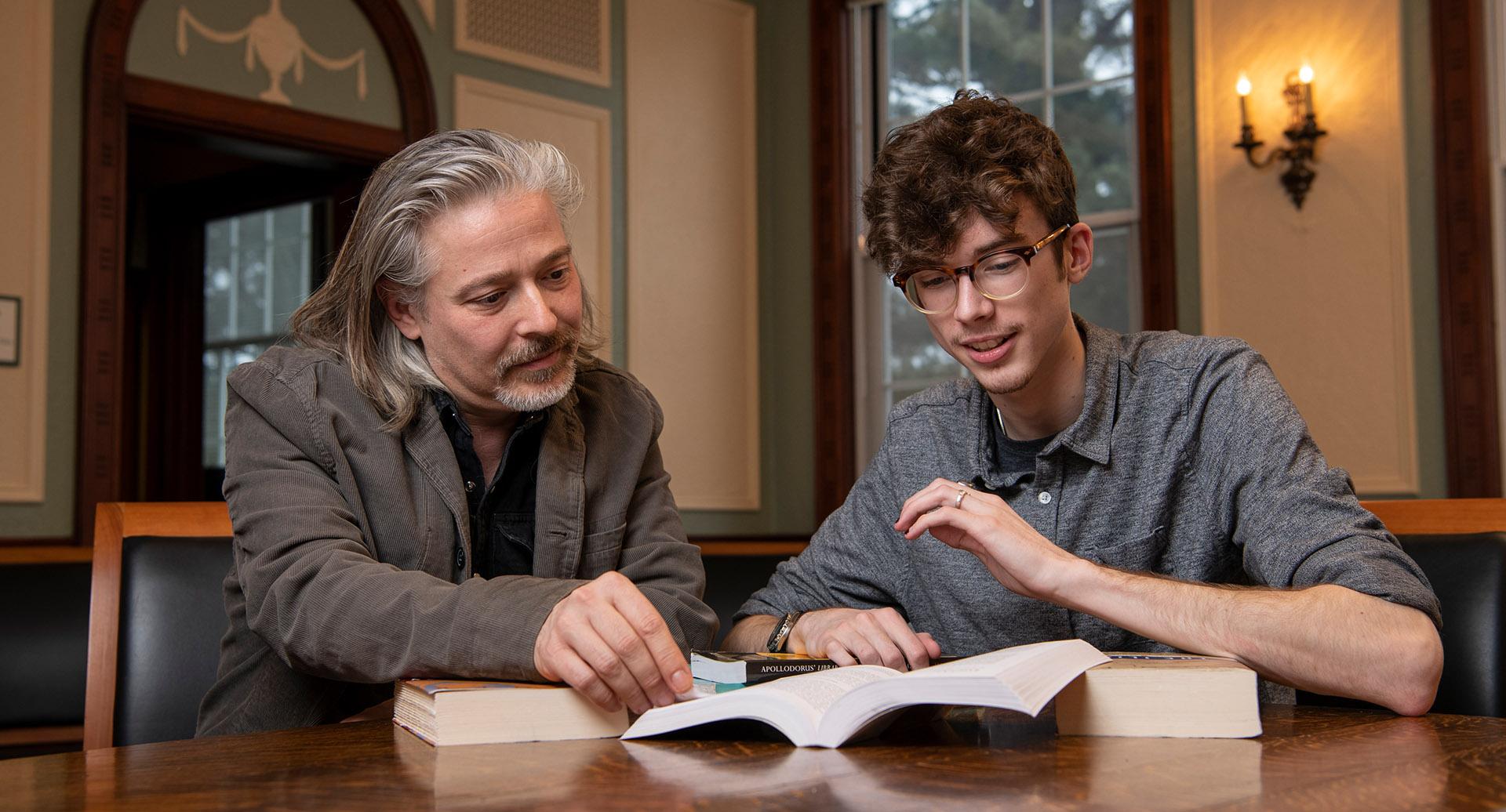 Keenan Dunleavy with Stephen Trzaskoma, professor of classics
