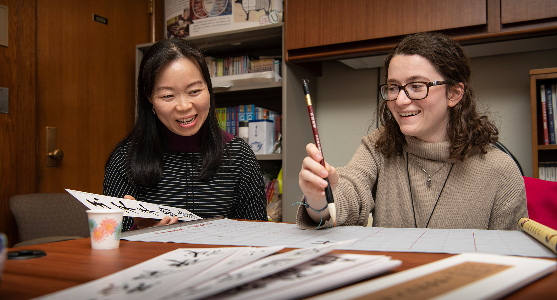 Jordyn Haime with Ling Zhu, faculty in Chinese