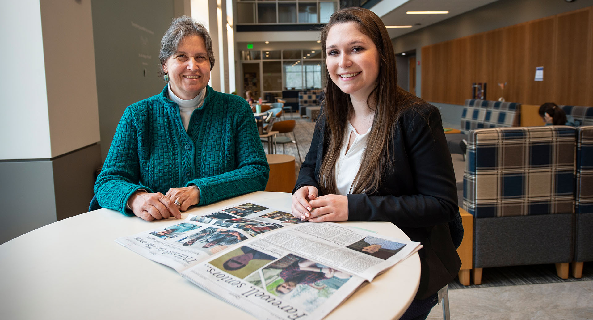photo of Olivia Olbrych with Lisa Miller, journalism professor