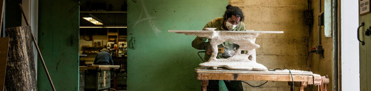 Art student making a sculpture