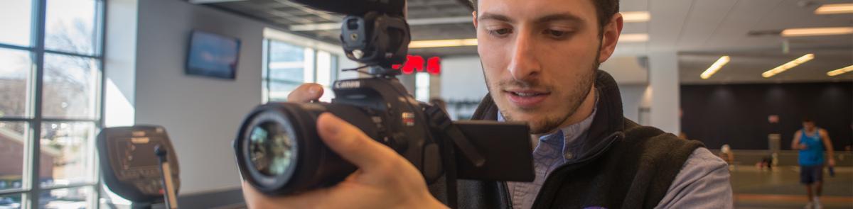 Journalism student filming
