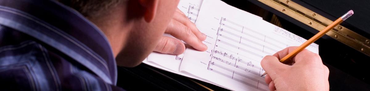 Student writing music