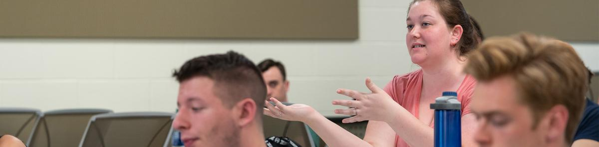 Political Science major in class discussion