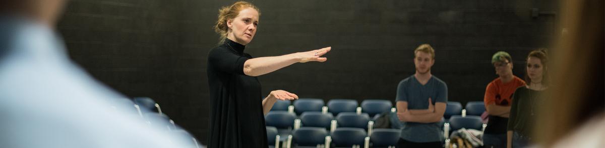 Theater professor teaching a class