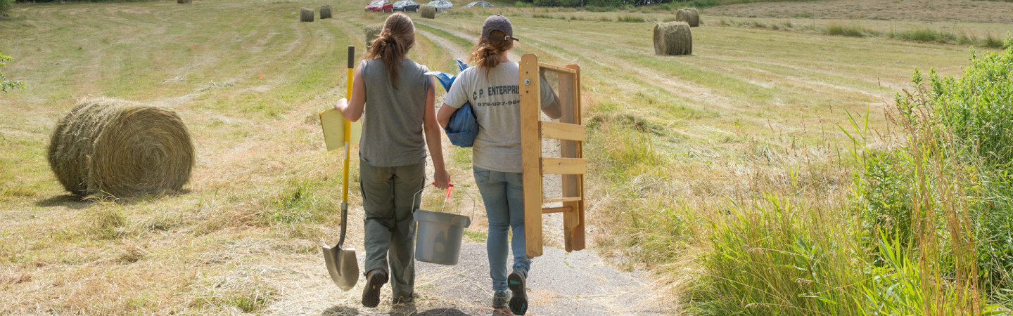 Anthropology students on a farm