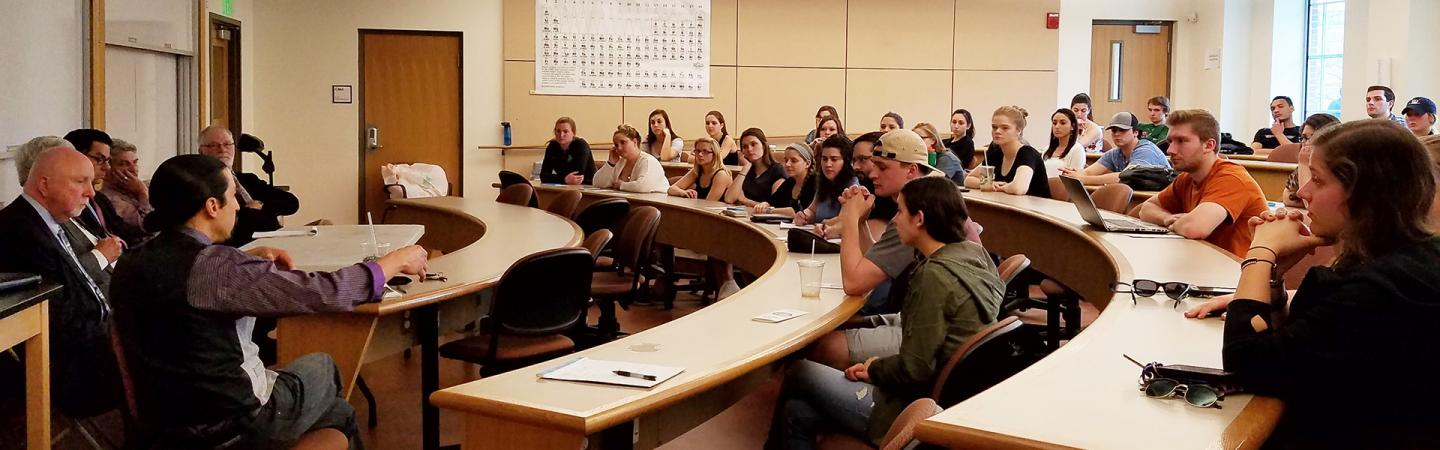Justice Studies students in classroom lecture
