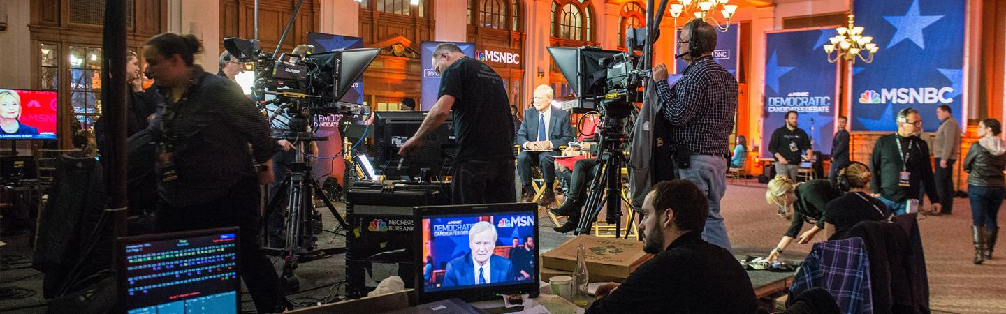 Students working with MSNBC to cover democratic candidates debate