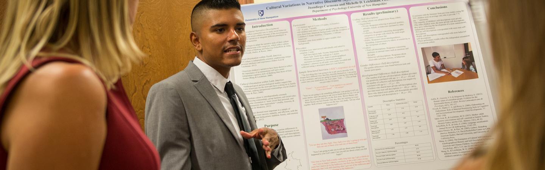Psychology student giving a presentation