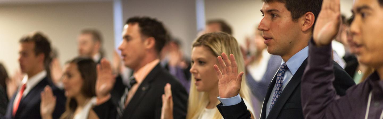 students taking oath