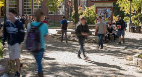 students in Murkland courtyard
