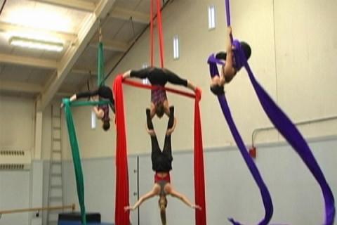 aerial dancers in the studio
