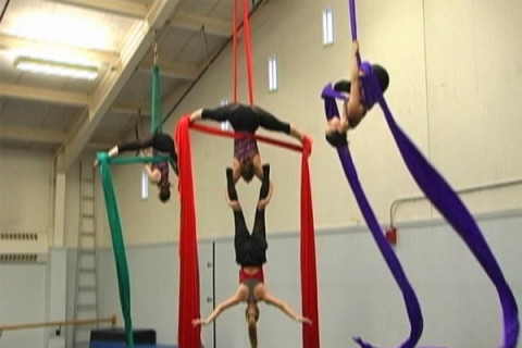 aerial dancers in the studio