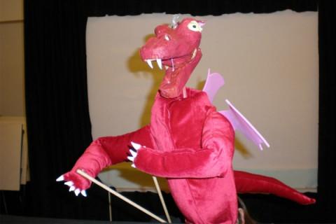 pink dragon puppet