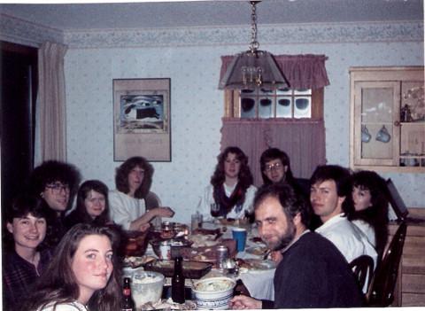 Graduates sharing dinner