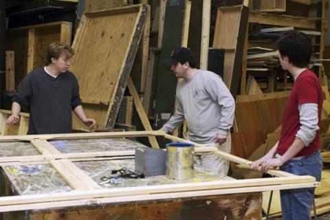 students constructing sets
