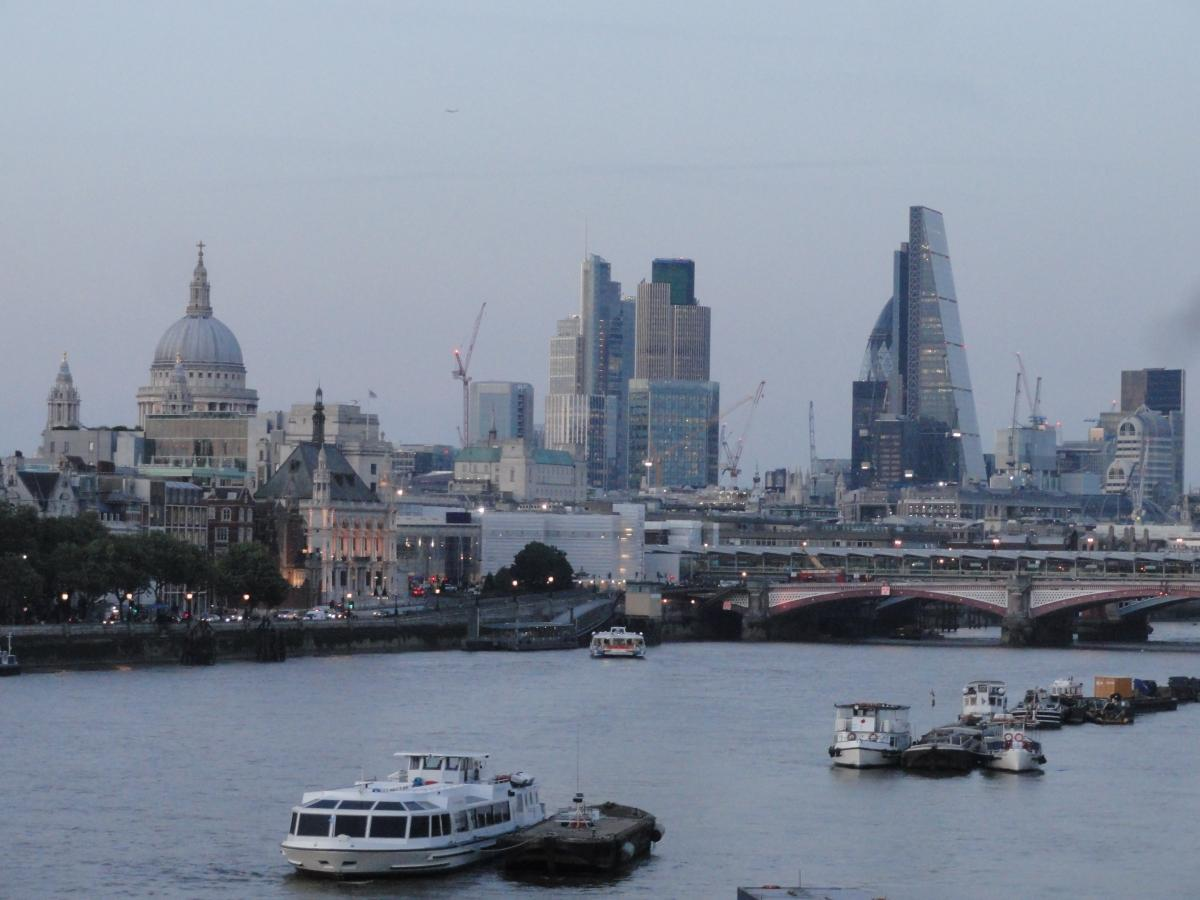 London skyline and Thames River