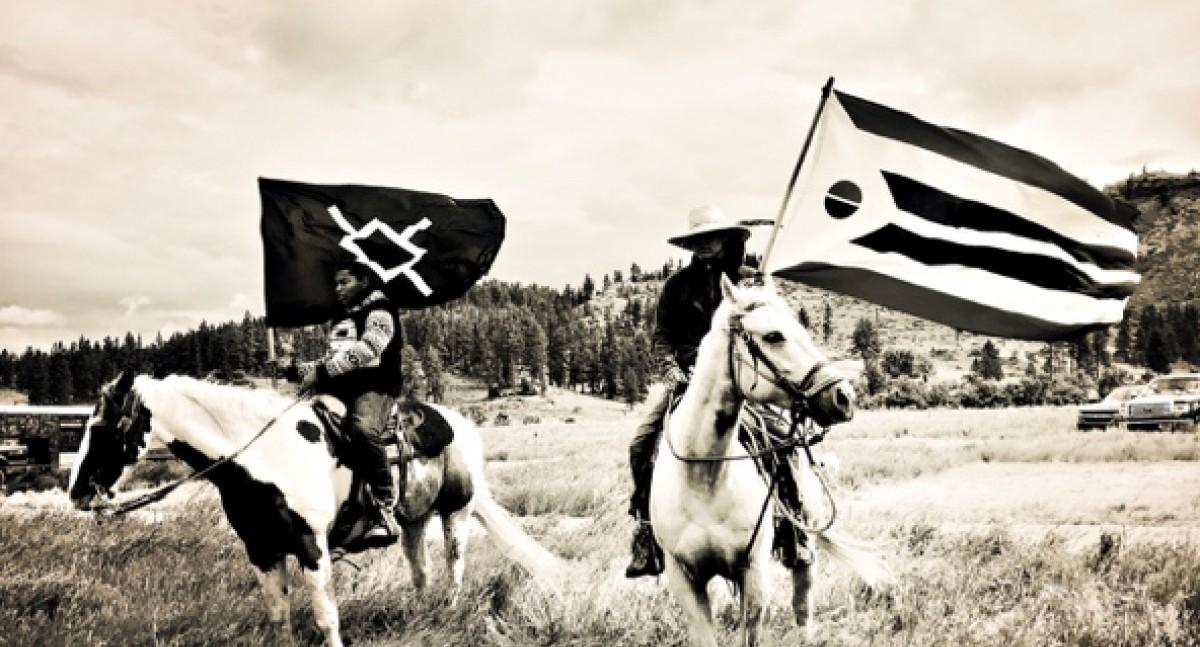 [Photograph by Elena Creef. Northern Cheyenne & Arapaho Riders, Carl Petersen on Montana Victory Ride June 2019