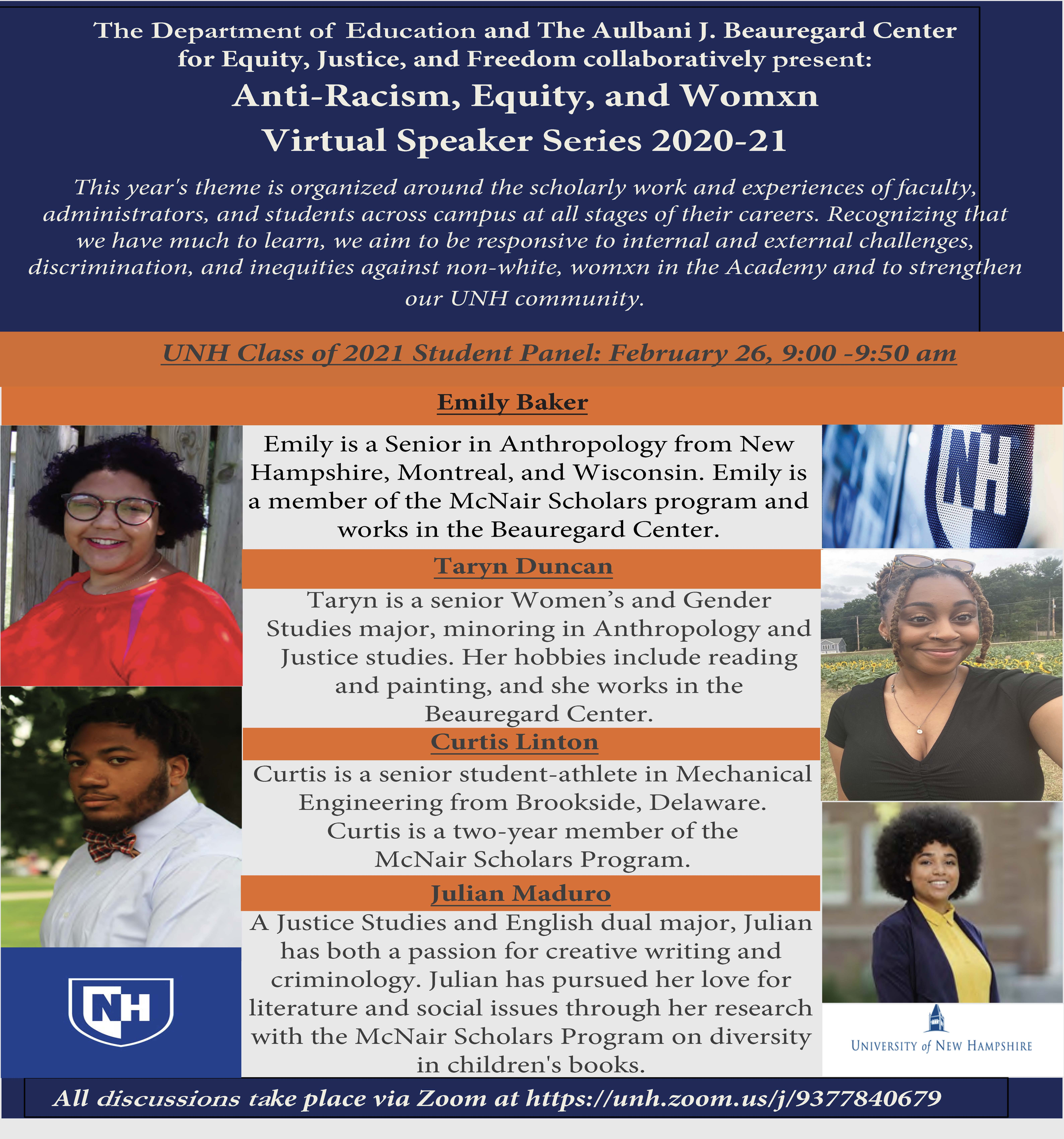 Anti-Racism, Equity, and Womxn Virtual Speaker Series image.